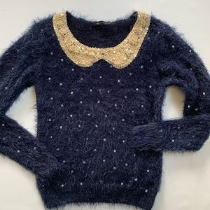 QED London sequin & fuzzy sweater